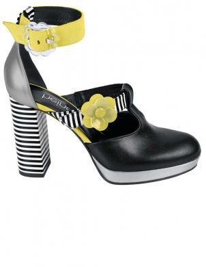 Ekstravagantas melnas/ dzeltenas sieviešu augstpapēžu sandales ar ziediem HEINE
