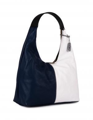 ANNA MORELLINI tumši zila ādas sieviešu soma