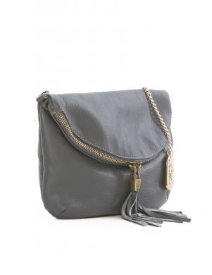 ANNA MORELLINI pelēka ādas sieviešu soma