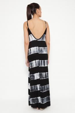 TANTRA gara baltas/melnas krāsas svītraina sieviešu kleita ar lencēm