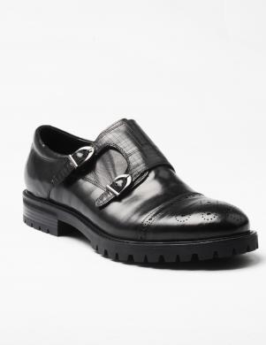 LA CONTE vīriešu melnas krāsas ādas apavi