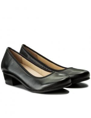 Sieviešu melni ādas klasiski apavi ar zemu papēdi CAPRICE