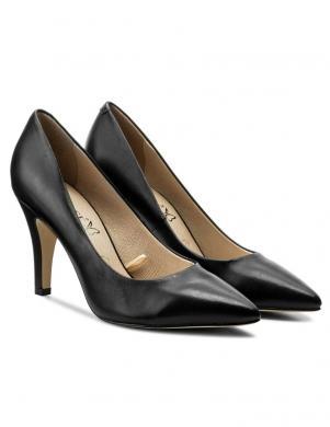 Sieviešu melni ādas ar asu priekšdaļu augstpapēžu apavi CAPRICE