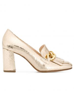 Sieviešu zelta krāsas augstpapēža apavi ar ķēdīti HOGL