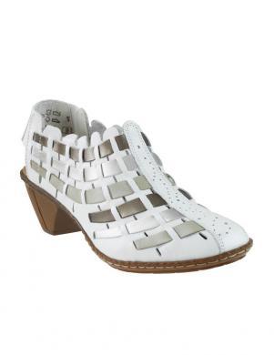 Sieviešu balti apavi ar atvērtu papēdi RIEKER