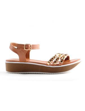 Sieviešu brūnas sandales ar augstu platformu STELLA