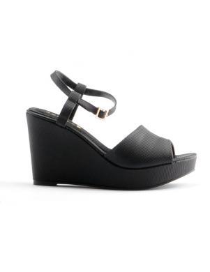 Sieviešu melnas pilnpapēža sandales ar lenci STELLA