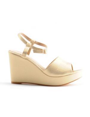 Sieviešu zelta krāsas pilnpapēža sandales ar lenci STELLA