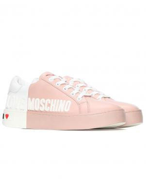 LOVE MOSCHINO sieviešu rozā - balti ādas ikdienas apavi