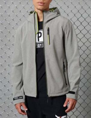 SUPERDRY vīriešu pelēka jaka ar kapuci HOODED SOFTSHELL JACKET