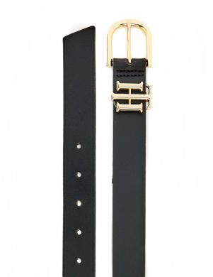 TOMMY HILFIGER sieviešu melna ādas josta ar zelta detaļām LUX LOGO BELT 3.0