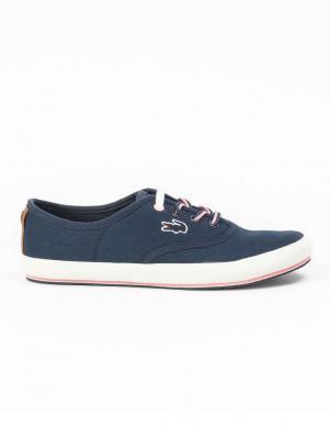 LACOSTE sieviešu zili vasaras apavi ar šņorēm un baltu zoli
