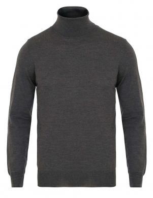 Pelēks vīriešu vilnas džemperis ar apkakli GANT