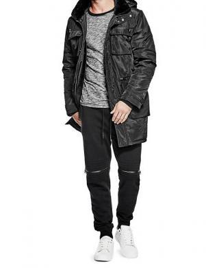 GUESS melnas krāsas stilīga vīriešu jaka ar kažokādu