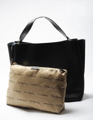 PIERRE CARDIN melnas krāsas ādas sieviešu soma