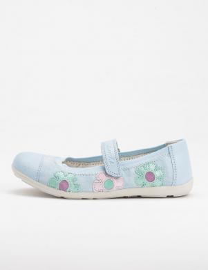 LURCHI BY SALAMANDER bērnu gaiši zili nubuka balerīnas apavi ar ziediem