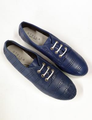 STELLA sieviešu zili ādas stilīgi apavi ar šņorēm un biezu papēdi