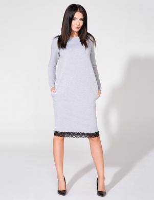 TESSITA gaiši pelēkas krāsas kleita ar garām piedurknēm