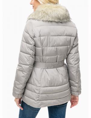 GEOX pelēka sieviešu jaka ar mākslīgu kažokādu
