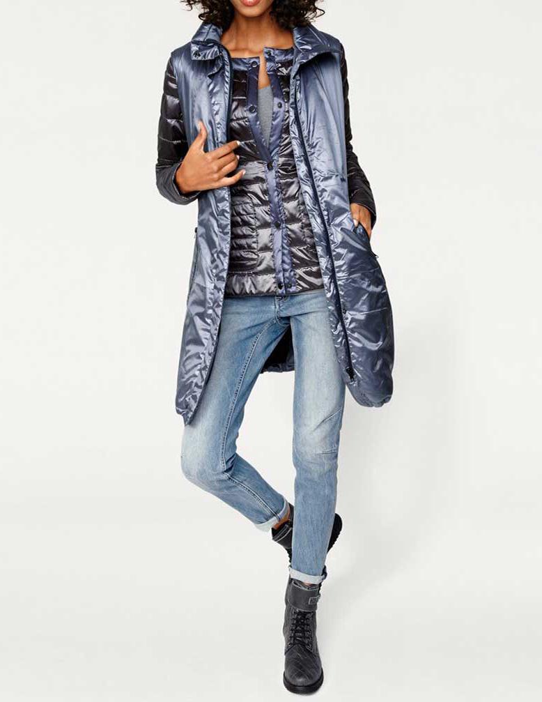 LINEA TESINI pelēkas zilas krāsas sieviešu jakas un vestes komplekts ... e8b7b1da28ac